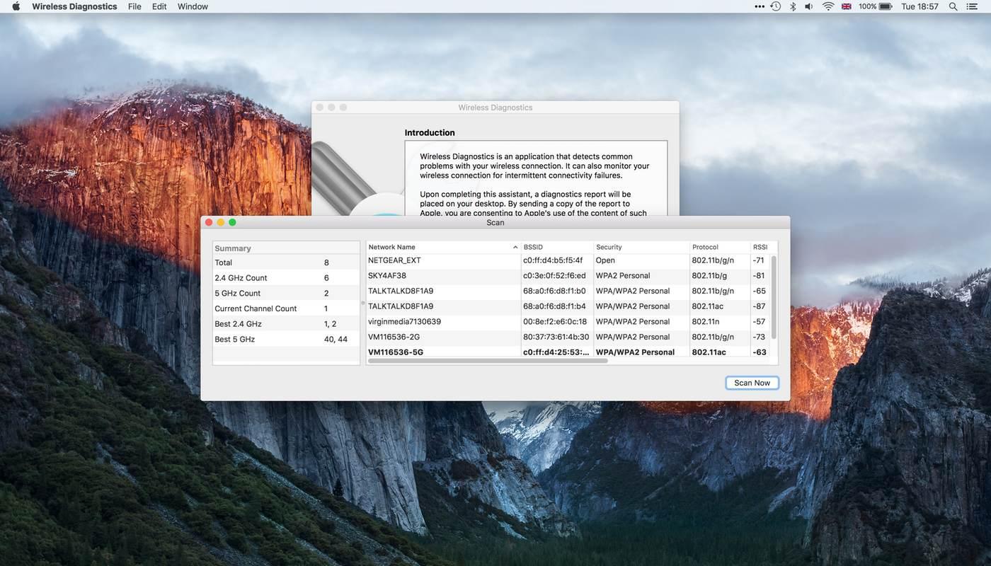 Wi-Fi Scanner OS X El Capitan List
