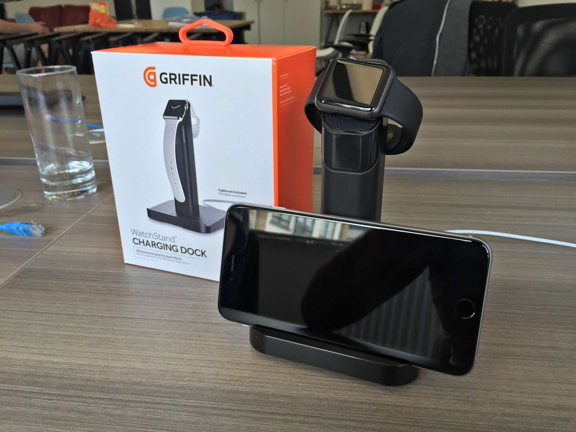 The Griffin WatchStand all set up and ready to go